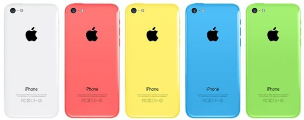 Apple iPhone 5c Rear View - Green. Blue, Yellow, Pink, White