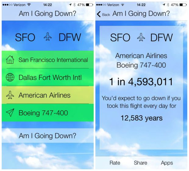 """news-aplikacja-ios-lot-1 """"Am I going down?"""" - nowa aplikacja na iOS pozwala sprawdzić, czy lecimy pechowym samolotem"""