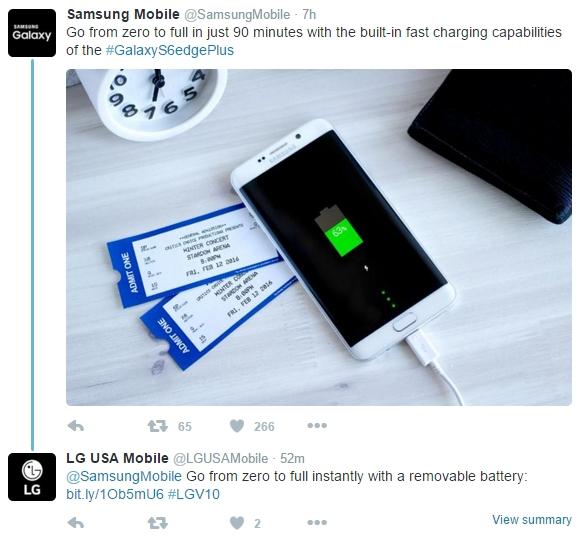 news-lg-samsung-twitter-1 LG zażartował z Samsunga - wymienna bateria lepsza od szybkiego ładowania?