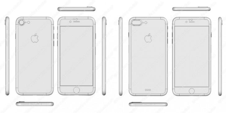 iPhone 7 po lewej, iPhone 7 Plus po prawej stronie.