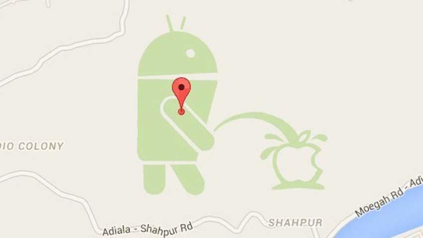 Kontrowersja w Google Maps - Android oddaje mocz na Apple
