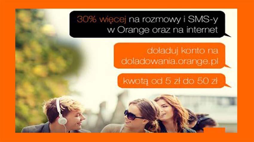 Promocja Orange: 30% do doładowania