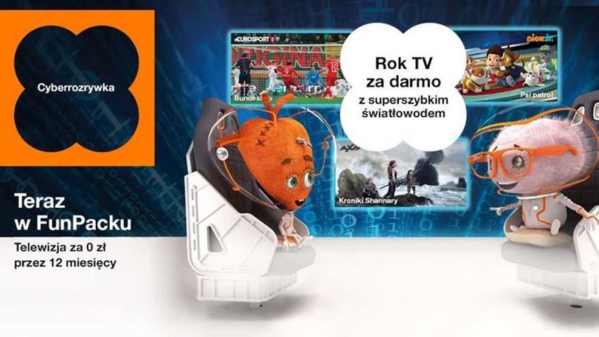 Orange oferuje darmową telewizję i telefon do Internetu światłowodowego