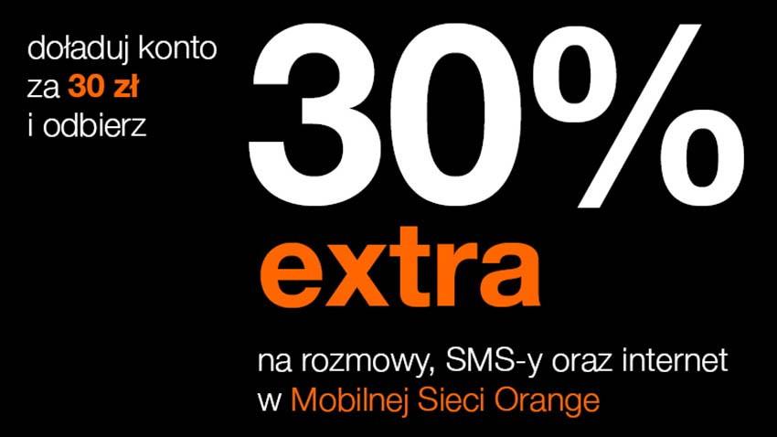 Promocja Orange: 30% ekstra do doładowania
