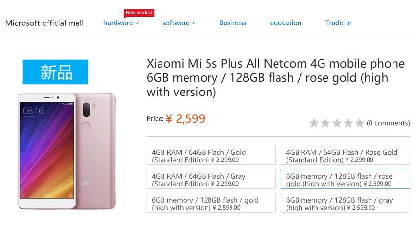 Microsoft-Xiaomi-Mi-5s-Plus-850x478 Microsoft sprzedaje smartfony w Chinach – ale nie swoje