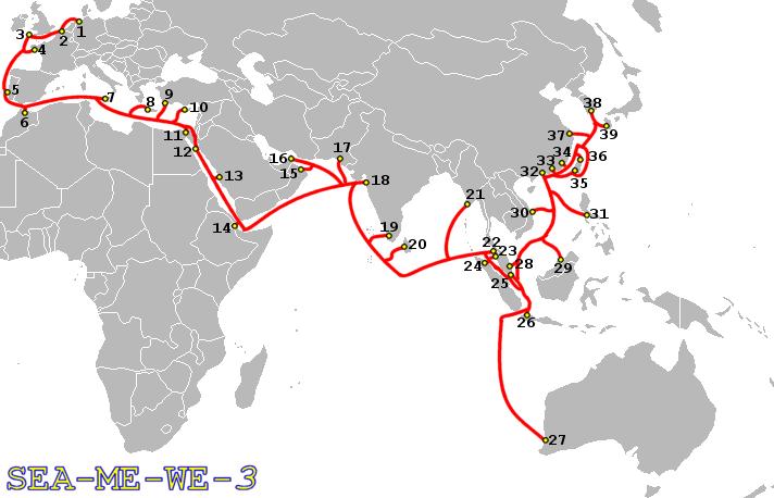 SEA-ME-WE-3-Route