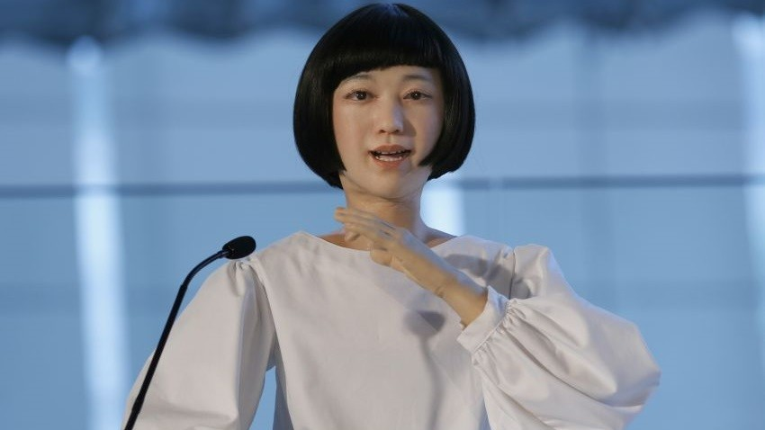 Android robot Kodomoroid speaks during a press event at the National Museum of Emerging Science and Innovation Miraikan in Tokyo Tuesday, June 24, 2014. The latest creations from Japanese android expert Hiroshi Ishiguro are a female-announcer robot called Otonaroid, a girl robot called Kodomoroid and Telenoid, a hairless mannequin head with pointed arms that serves as a cuddly companion. Kodomoroid read the news without stumbling once and regurgitated complex tongue-twisters glibly. (AP Photo/Shizuo Kambayashi) ORG XMIT: XKAN103