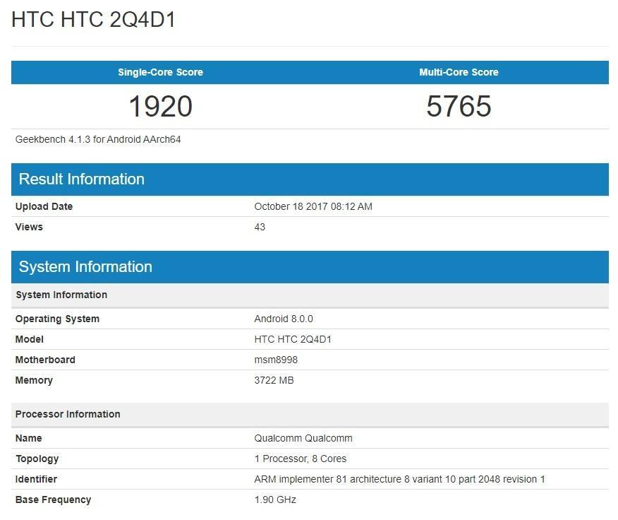htc-u-11-plus-geekbench Nowy HTC U11 Plus pojawił się w benchmarkach