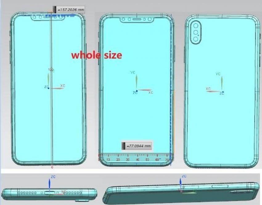 iphone8splus-schemat-850x665 6,5-calowy iPhone z potrójnym aparatem: wyciekły schematy urządzenia