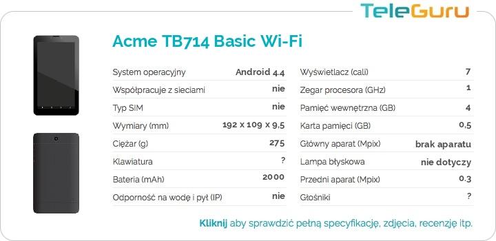 specyfikacja Acme TB714 Basic Wi-Fi