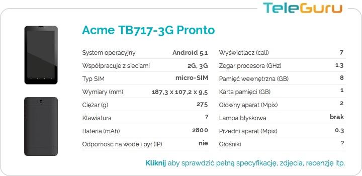 specyfikacja Acme TB717-3G Pronto
