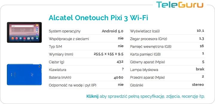 specyfikacja Alcatel Onetouch Pixi 3 Wi-Fi
