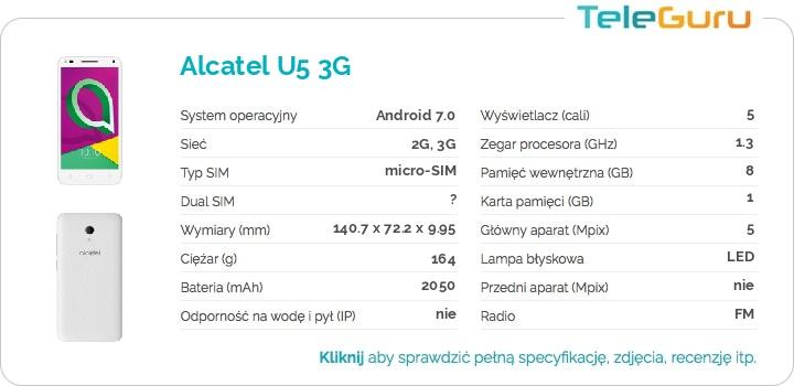 specyfikacja Alcatel U5 3G