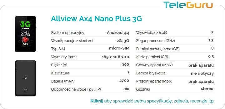 specyfikacja Allview Ax4 Nano Plus 3G