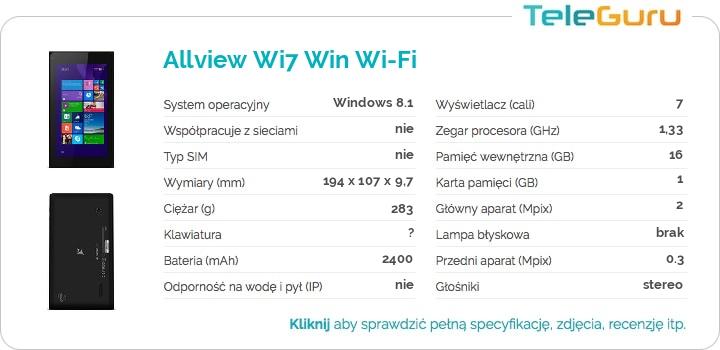 specyfikacja Allview Wi7 Win Wi-Fi