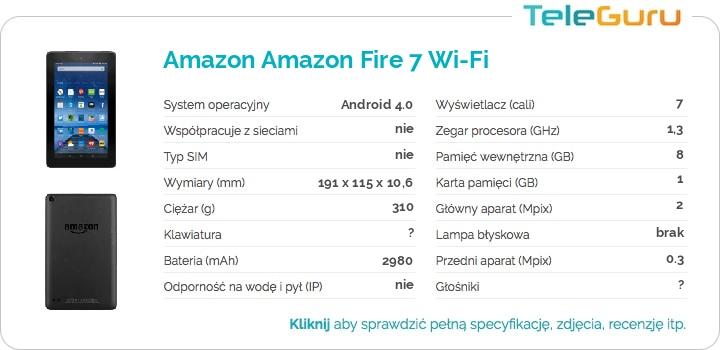specyfikacja Amazon Amazon Fire 7 Wi-Fi