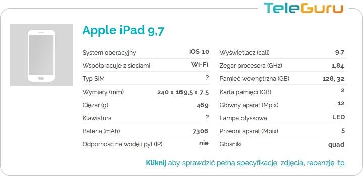specyfikacja Apple iPad 9,7
