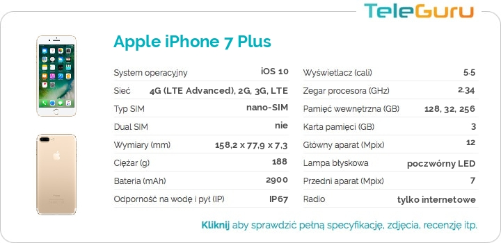 specyfikacja Apple iPhone 7 Plus