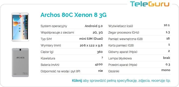 specyfikacja Archos 80C Xenon 8 3G