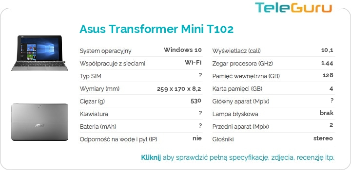 specyfikacja Asus Transformer Mini T102