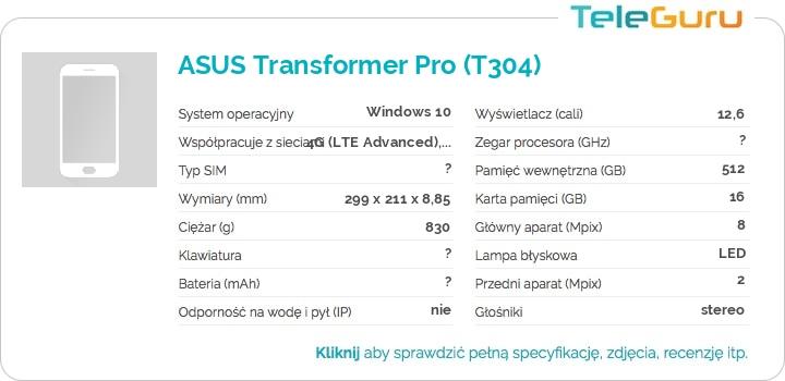 specyfikacja ASUS Transformer Pro (T304)