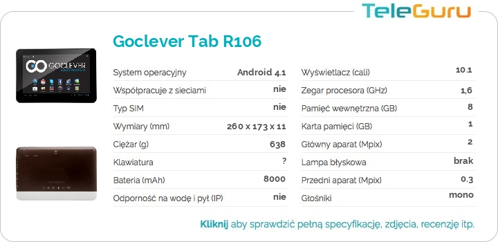 specyfikacja Goclever Tab R106