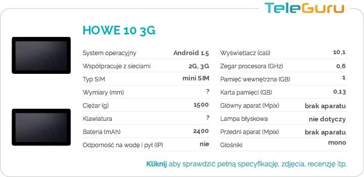 specyfikacja HOWE 10 3G