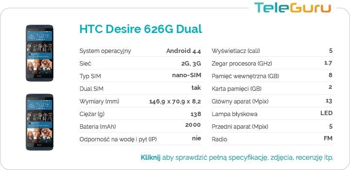 specyfikacja HTC Desire 626G Dual