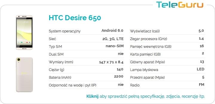 specyfikacja HTC Desire 650