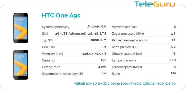 specyfikacja HTC One A9s