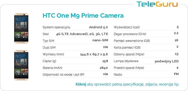 specyfikacja HTC One M9 Prime Camera