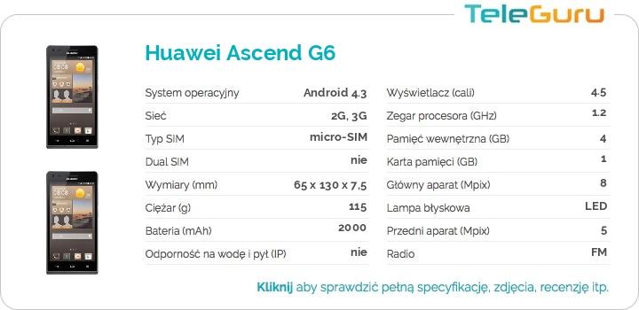 specyfikacja Huawei Ascend G6