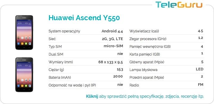 specyfikacja Huawei Ascend Y550
