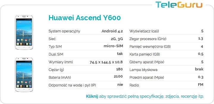 specyfikacja Huawei Ascend Y600