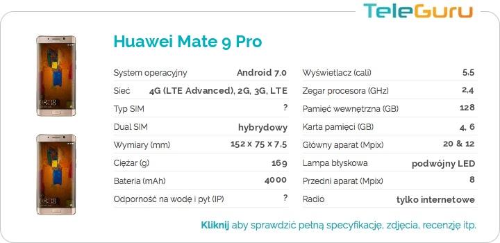 specyfikacja Huawei Mate 9 Pro
