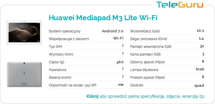 specyfikacja Huawei Mediapad M3 Lite Wi-Fi