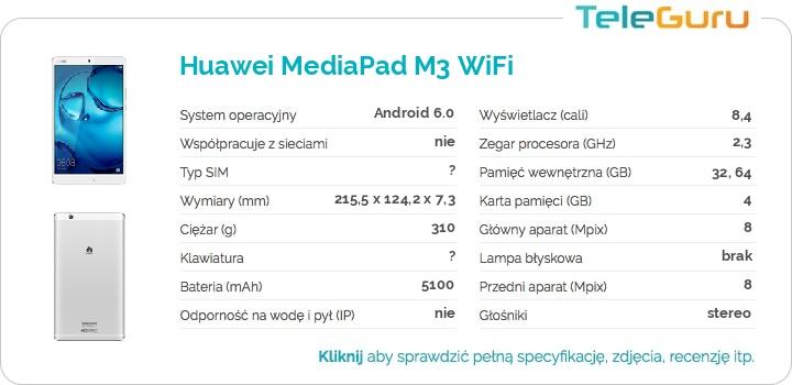 specyfikacja Huawei MediaPad M3 WiFi