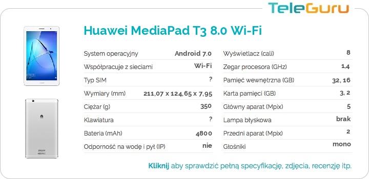 specyfikacja Huawei MediaPad T3 8.0 Wi-Fi