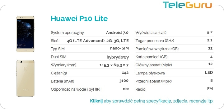specyfikacja Huawei P10 Lite