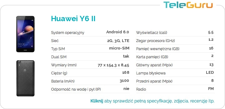 specyfikacja Huawei Y6 II