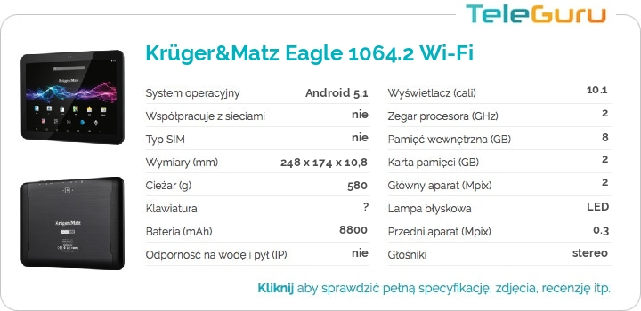 specyfikacja Krüger&Matz Eagle 1064.2 Wi-Fi