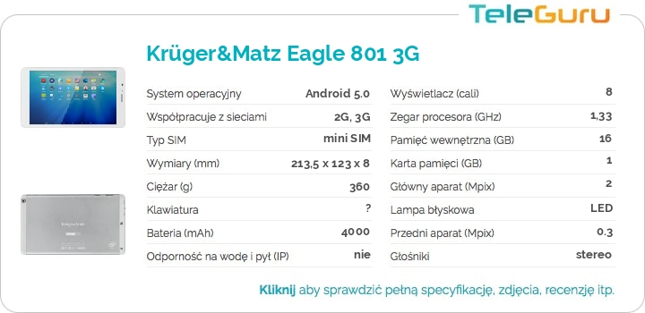 specyfikacja Krüger&Matz Eagle 801 3G
