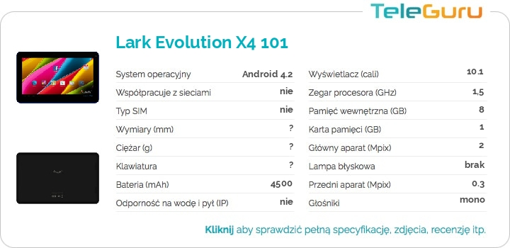 specyfikacja Lark Evolution X4 101