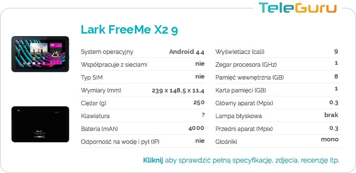 specyfikacja Lark FreeMe X2 9