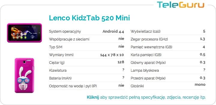 specyfikacja Lenco KidzTab 520 Mini
