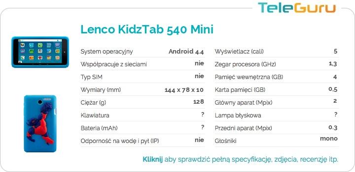 specyfikacja Lenco KidzTab 540 Mini