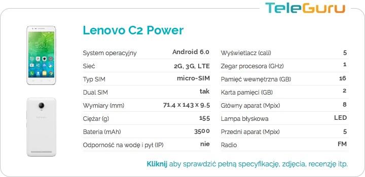 specyfikacja Lenovo C2 Power