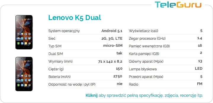 specyfikacja Lenovo K5 Dual
