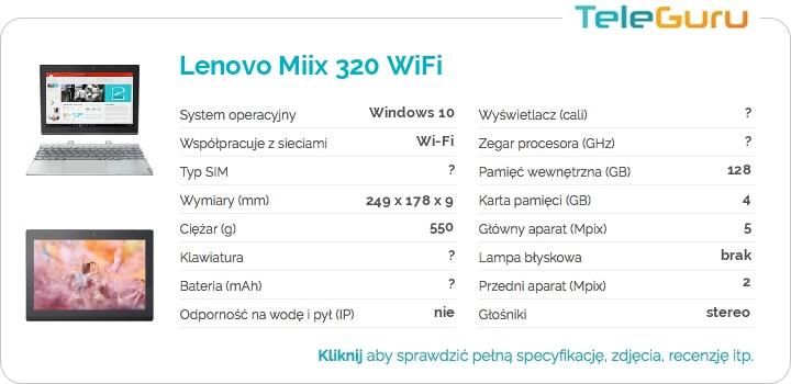 specyfikacja Lenovo Miix 320 WiFi