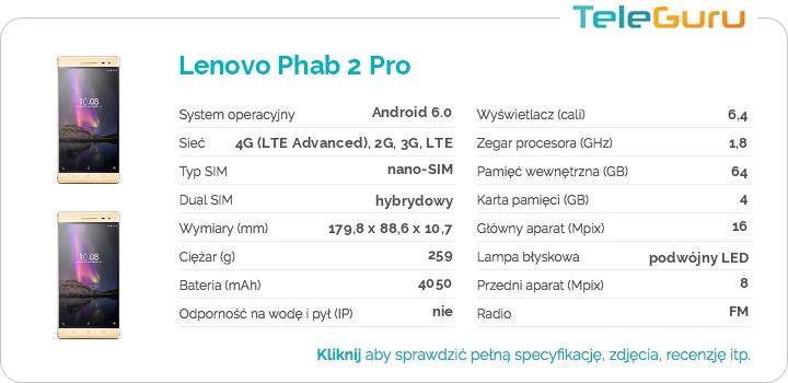 specyfikacja Lenovo Phab 2 Pro